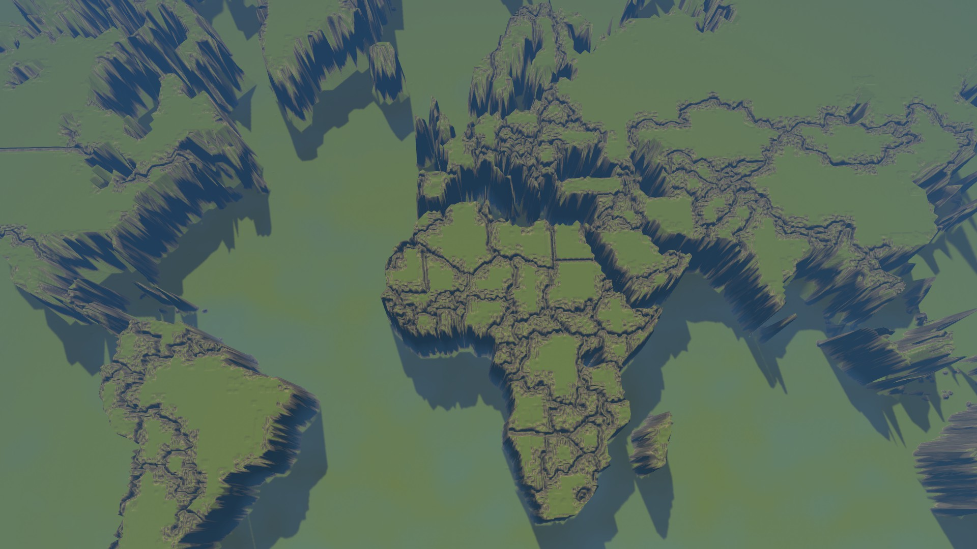 Imported World map in the Cities: Skylines map editor