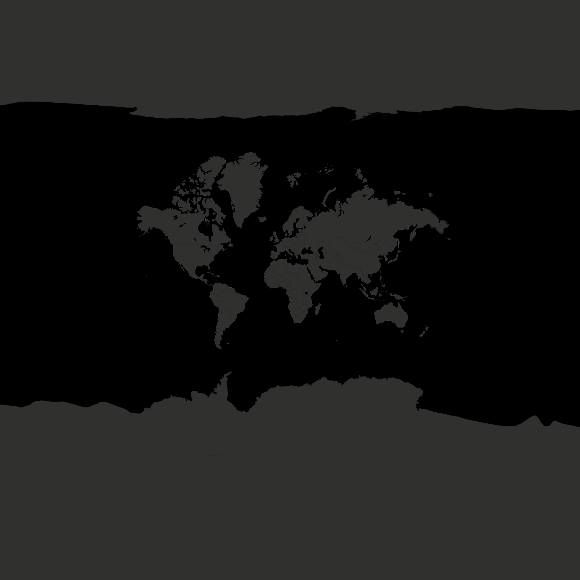 Customized World map in black and gray