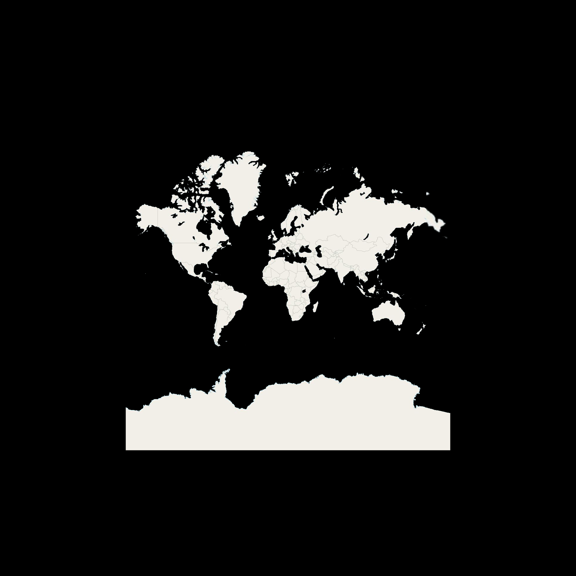 Customized World map in black and white