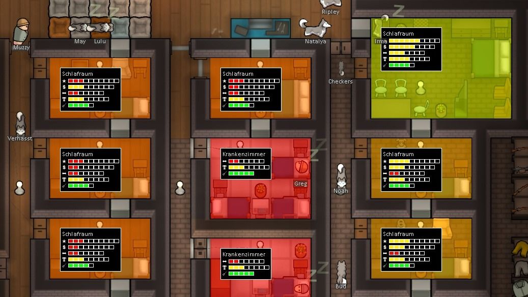 Different rooms in RimWorld with statistics from the Mod Room Sense.