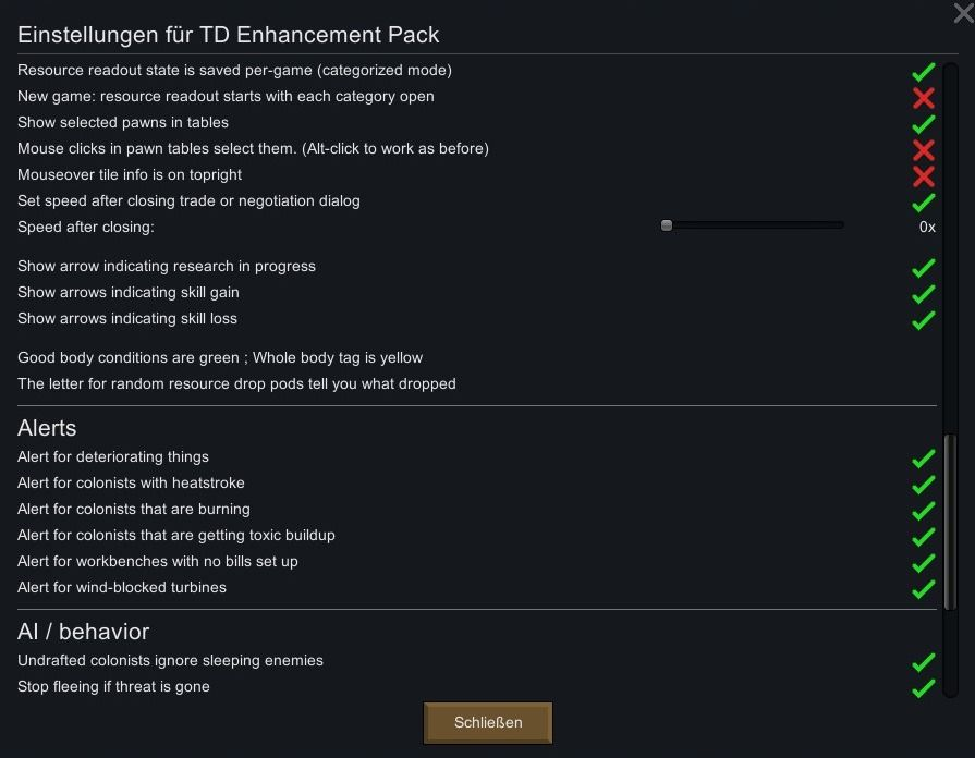Overview of all settings of the Mod TD Enhancement Pack.