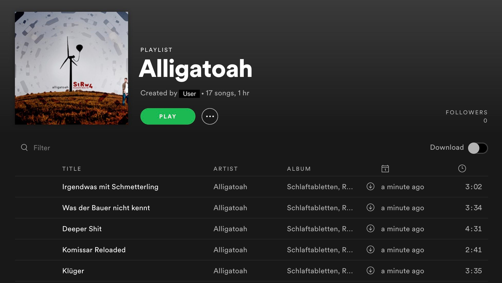 Screenshot Spotify Playlist