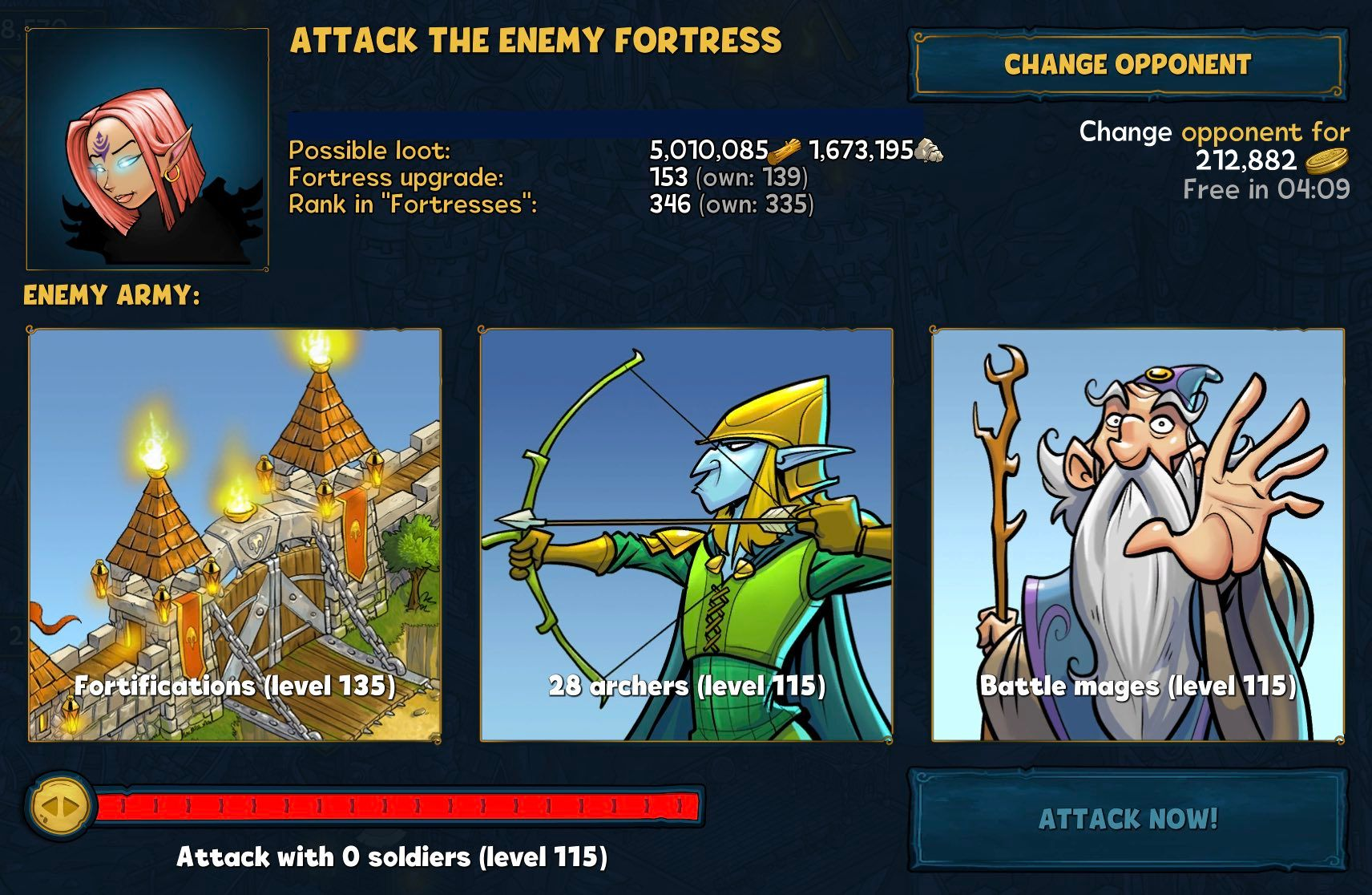 Attacking an enemy Fortress in Shakes and Fidget