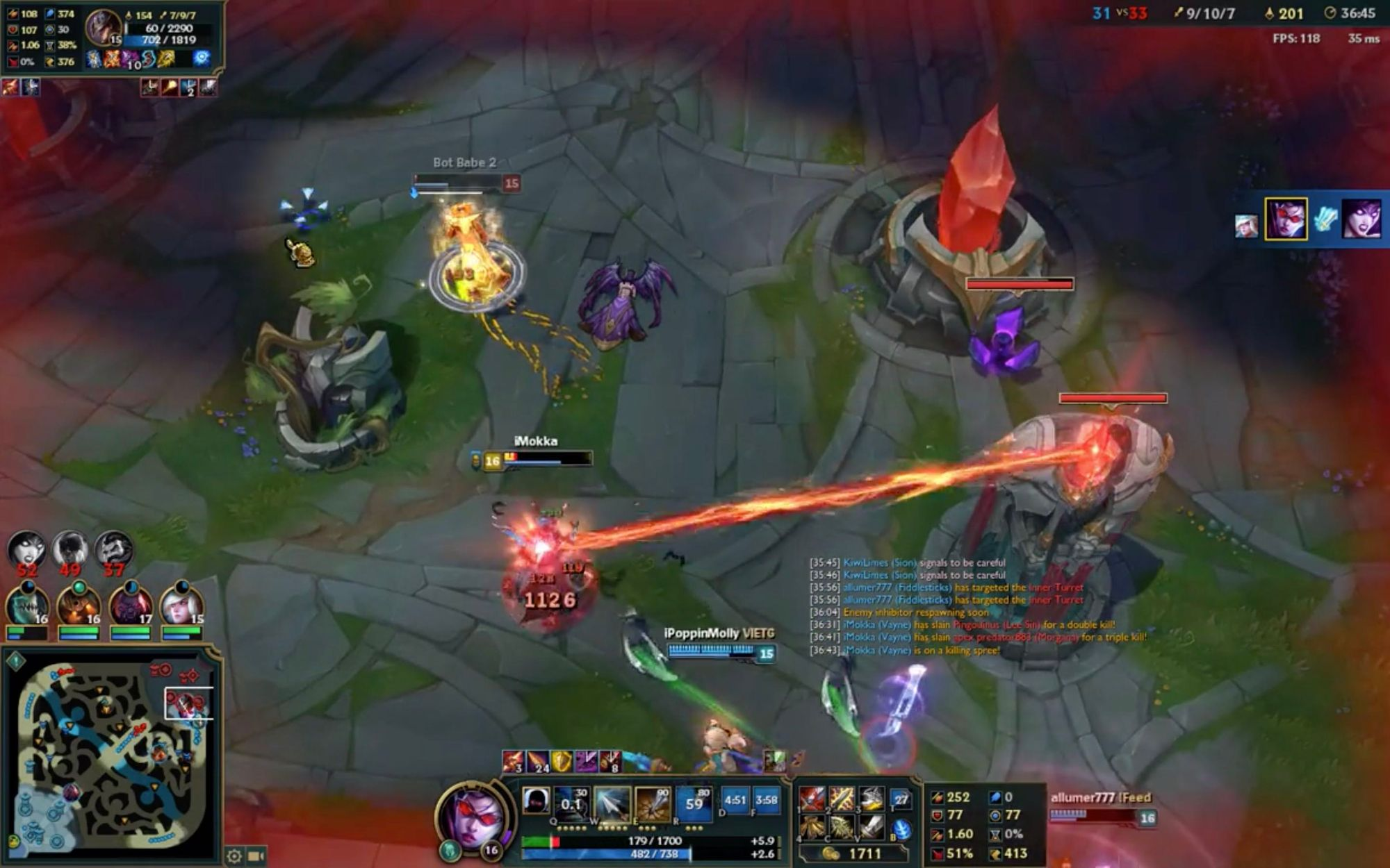 Champion gets attacked by the laser of inhibitor turret in League of Legends