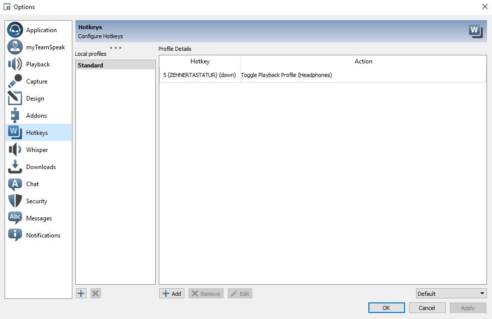 Teamspeak 3 Hotkey Settings on Windows