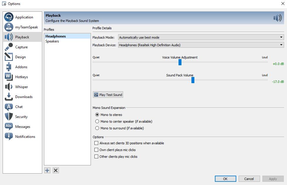 Teamspeak 3 Playback Settings on Windows