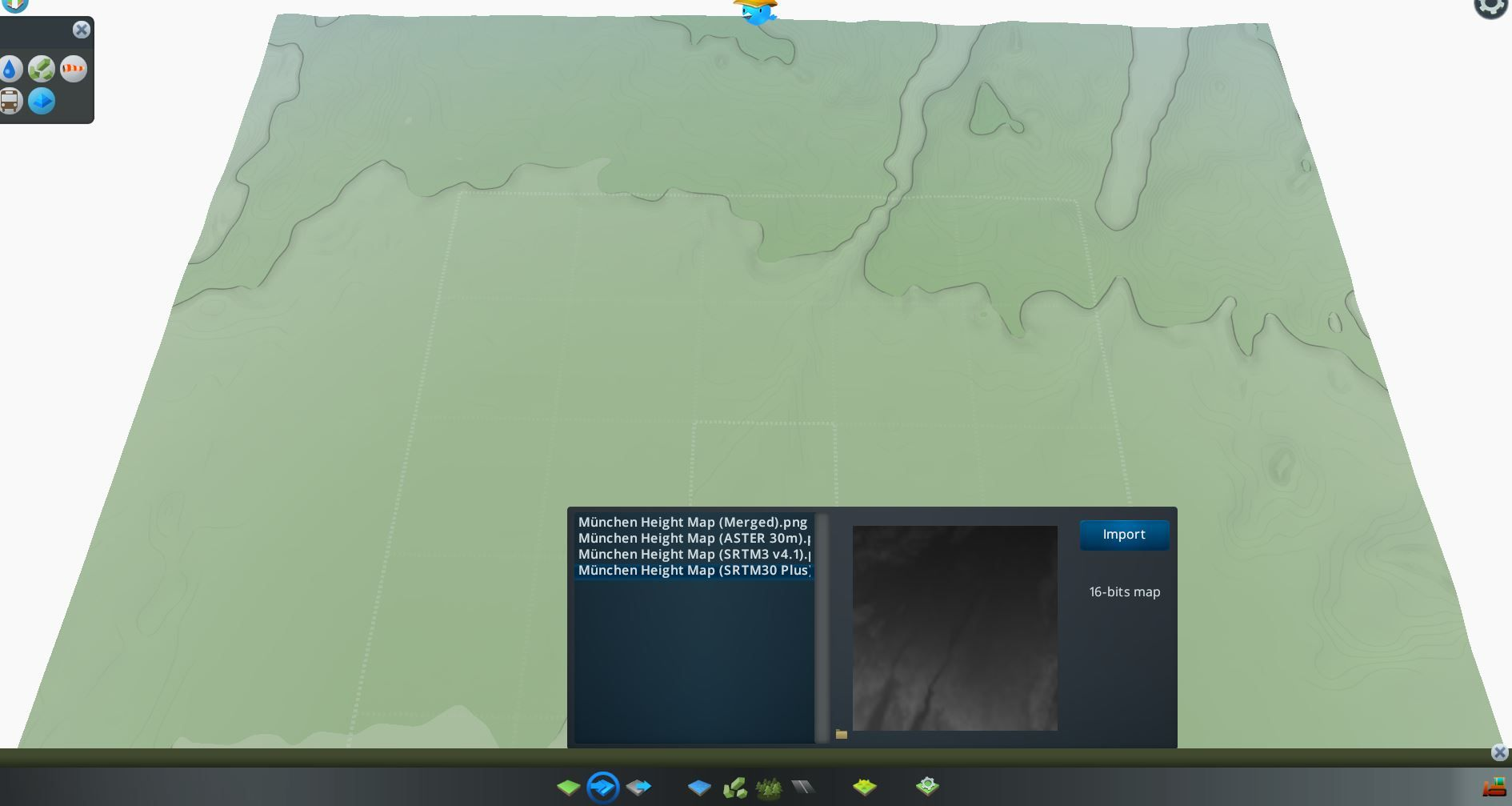 SRTM30+ Heightmap from terrain.party in Cities Skylines