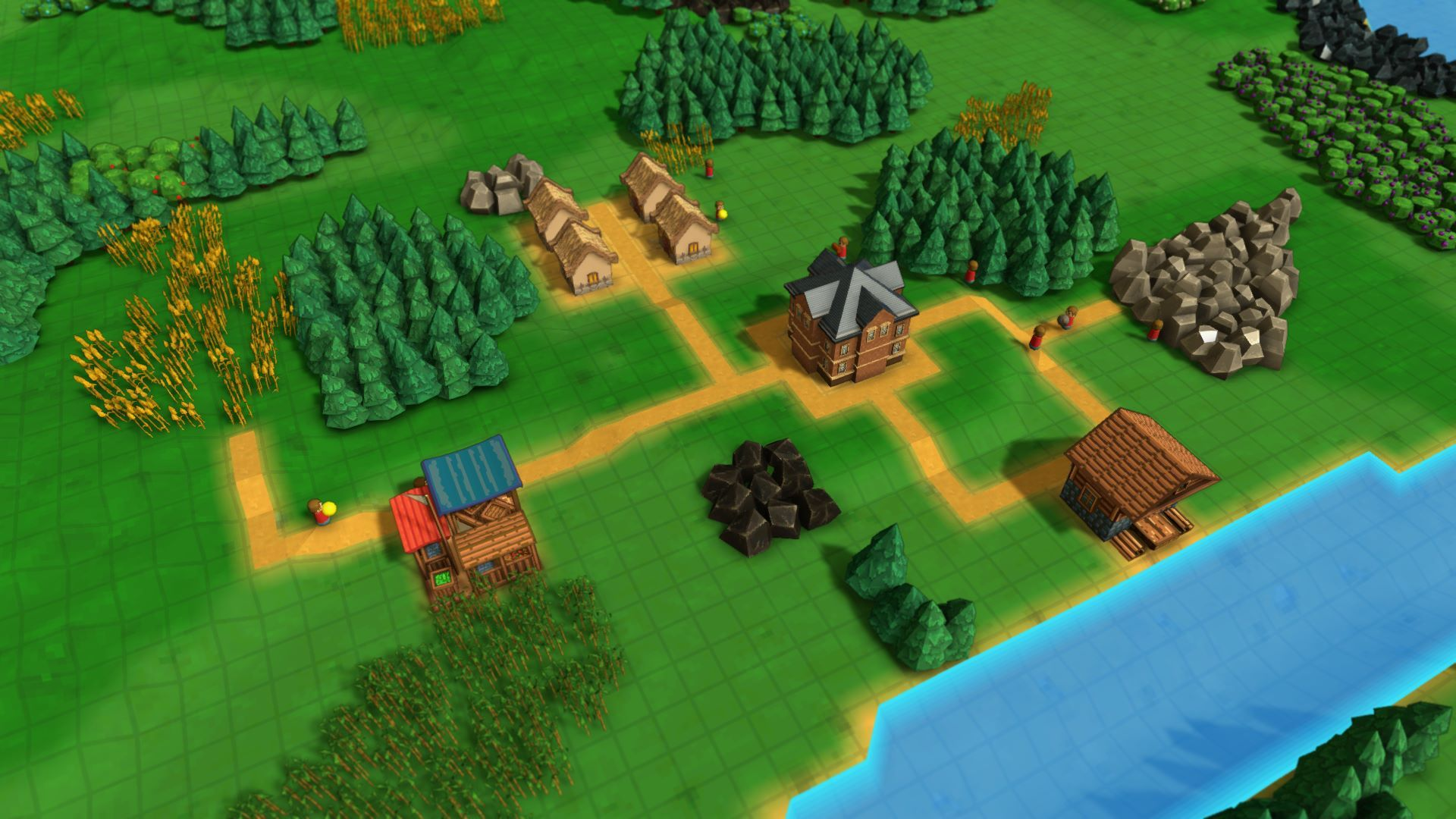Small village in Factory Town with market place, houses and sawmill.
