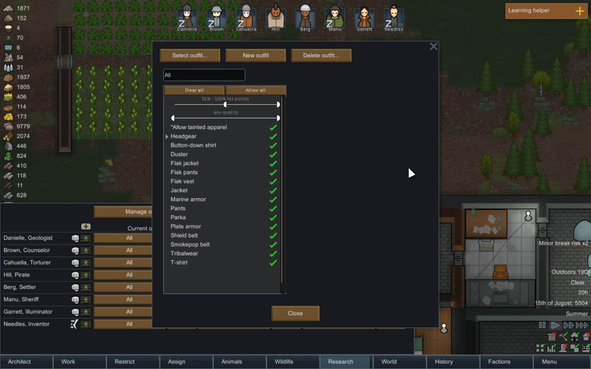 Outfit Settings in RimWorld