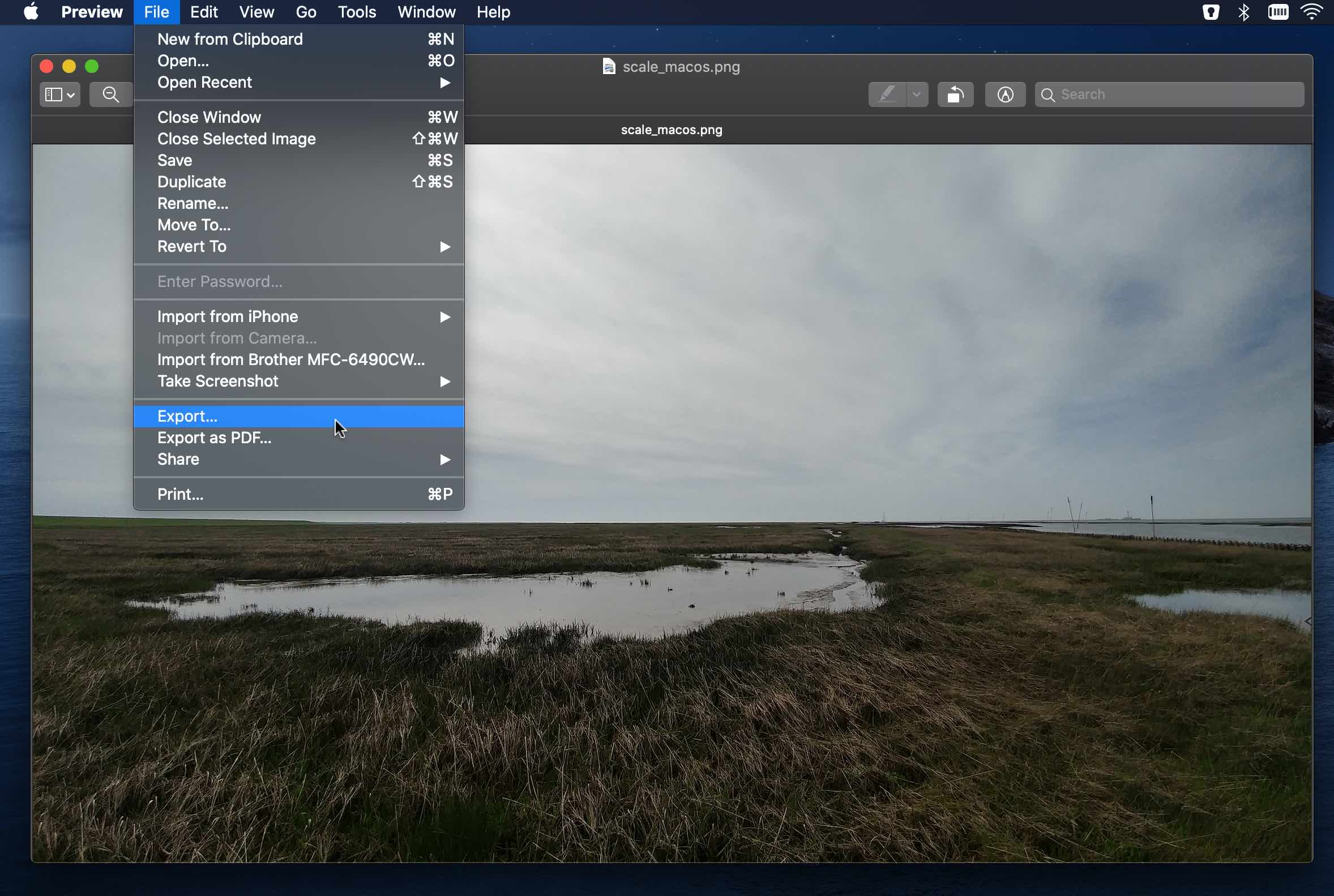 MacOS export image file in preview