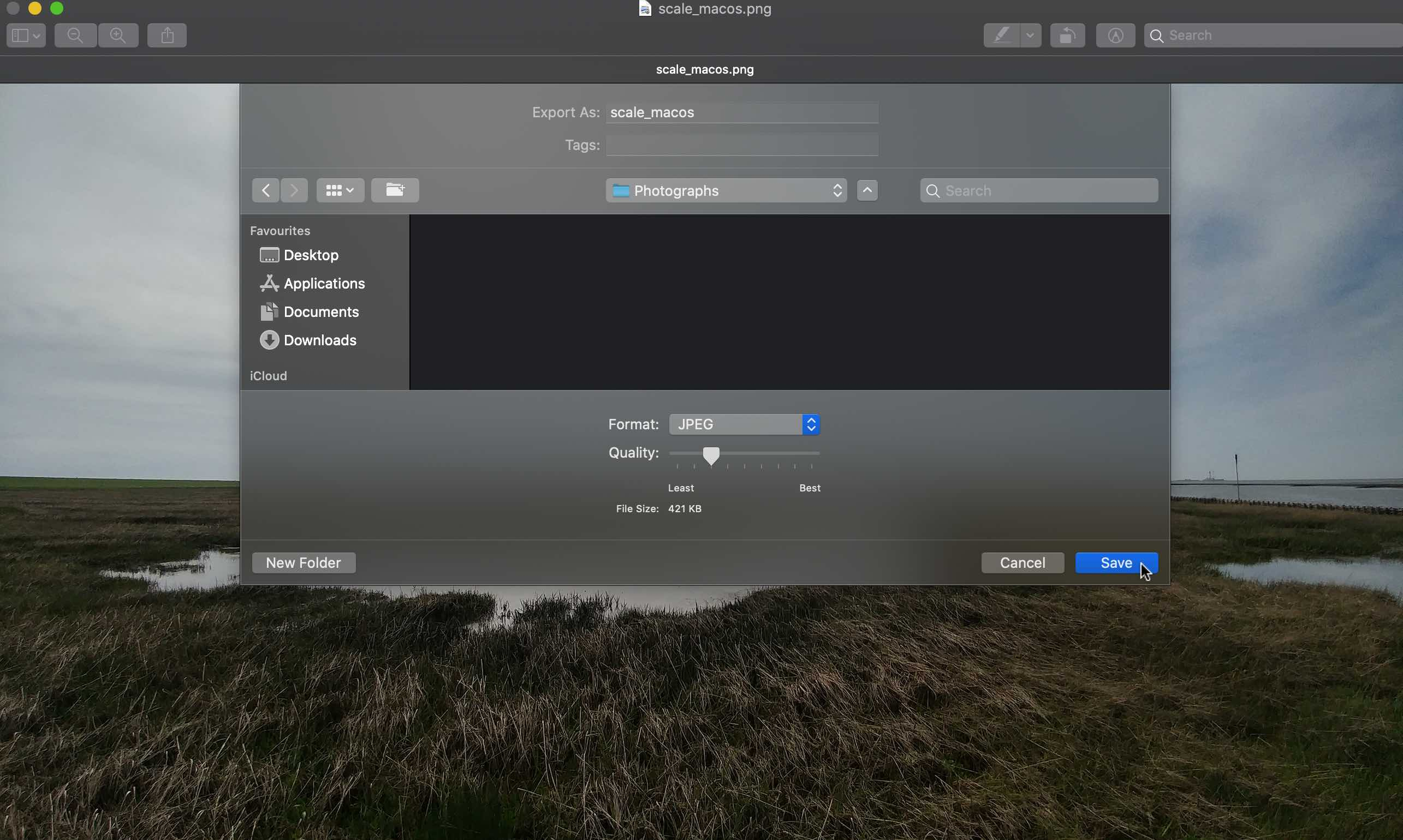 MacOS save image file with lower quality in preview