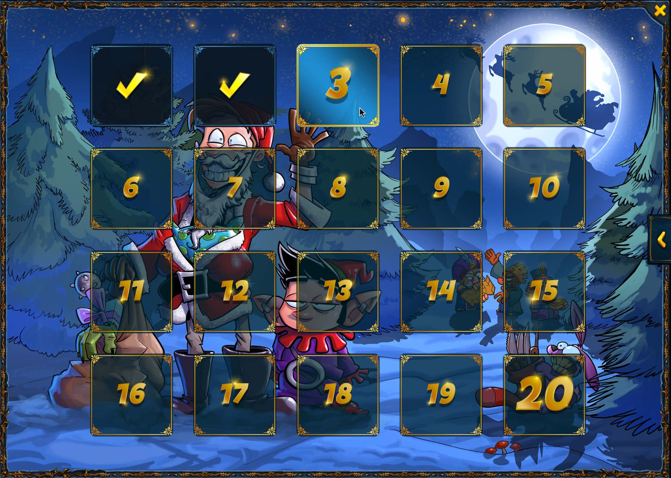All doors of the Shakes and Fidget advent calendar