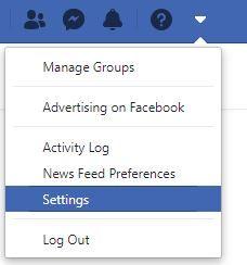 Facebook dropdown menu for settings