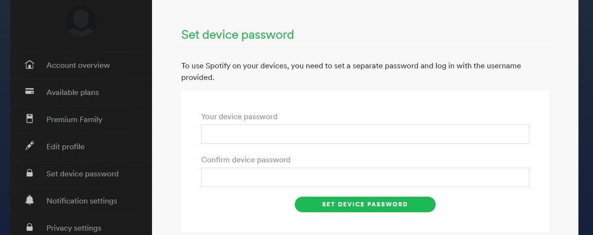 Setting a new device password in Spotify