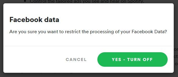 Turn off Facebook data in the Spotify privacy settings