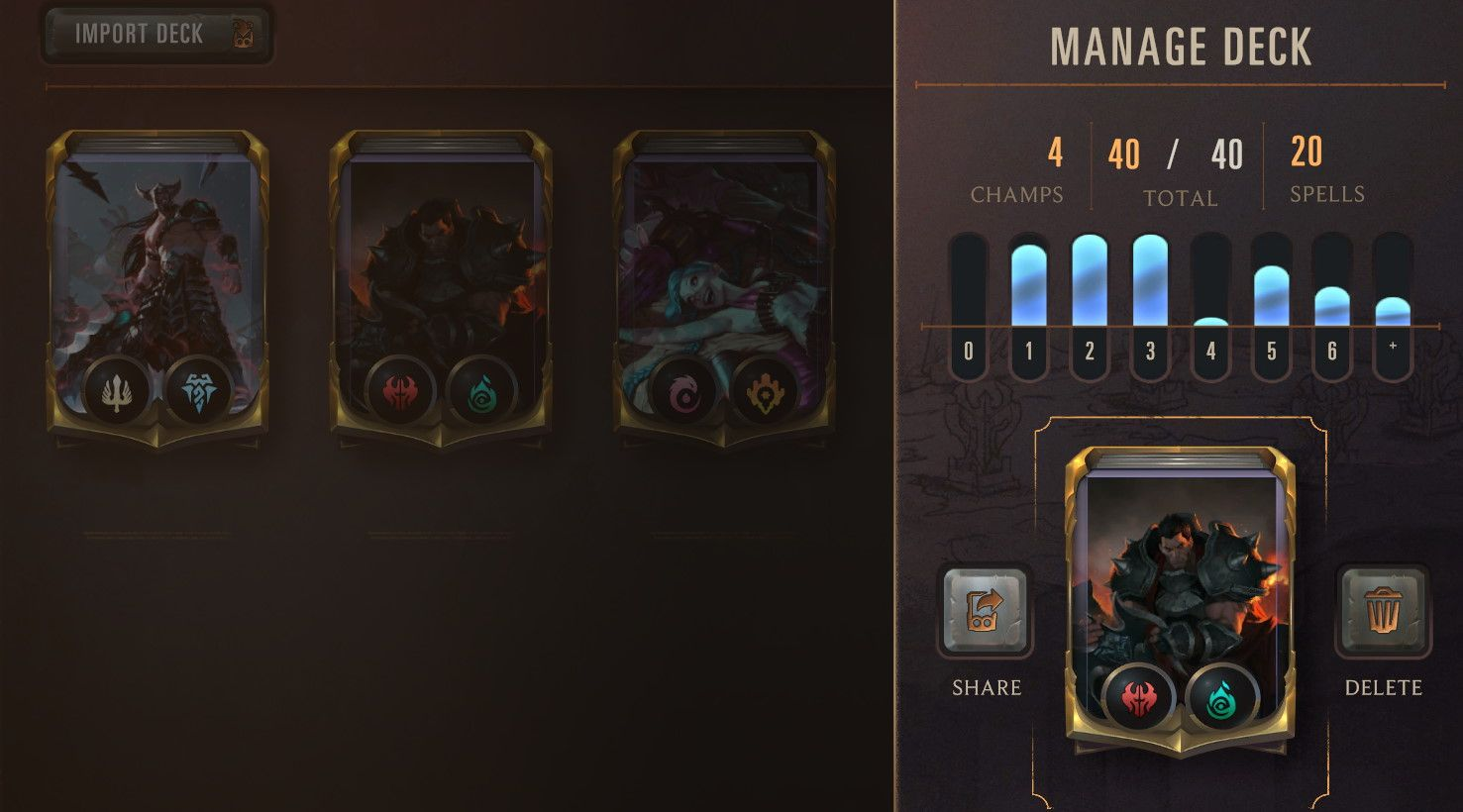 Share (export) a deck in Legends of Runeterra