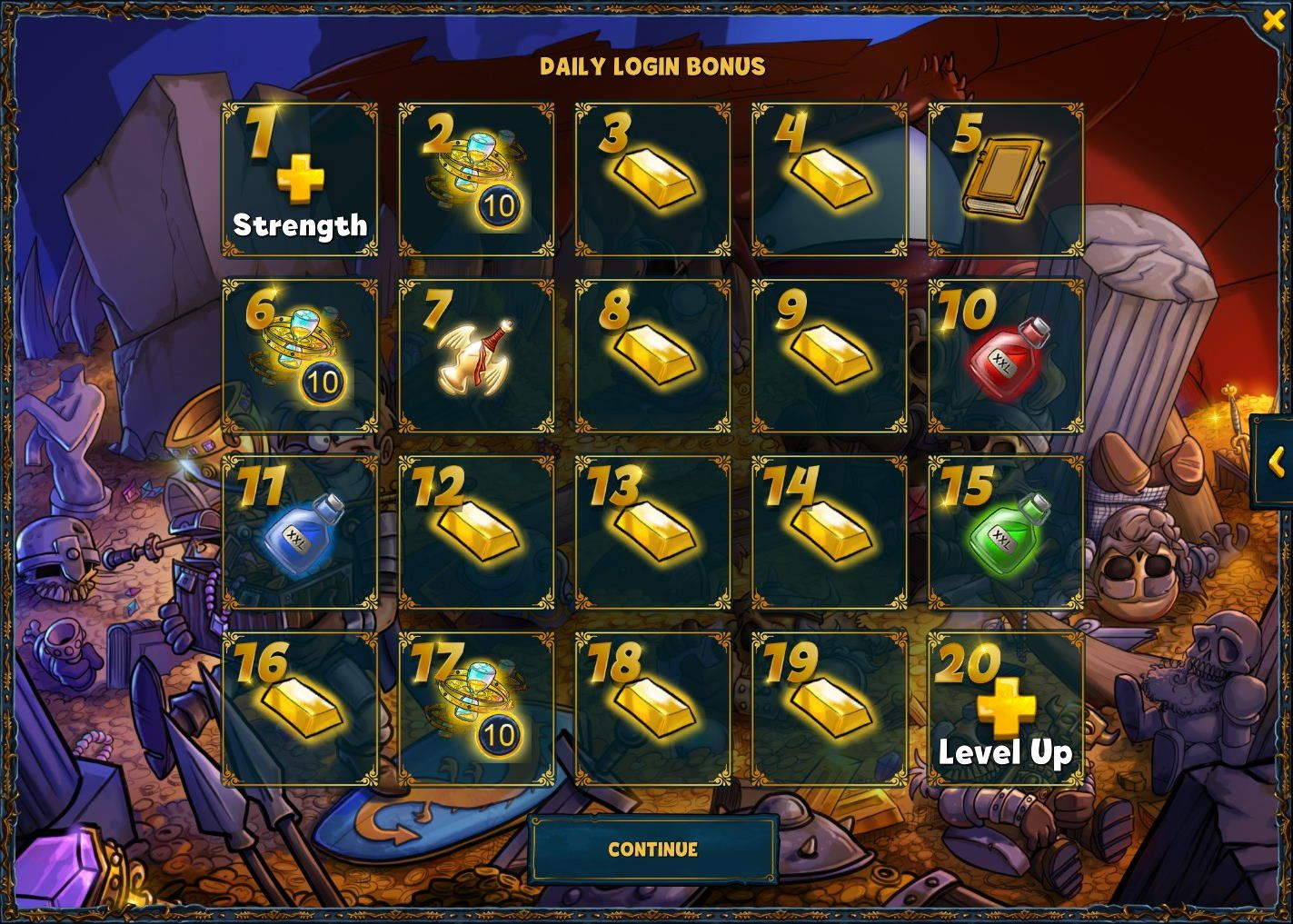 Rewards of the daily login bonus for low level accounts in Shakes and Fidget