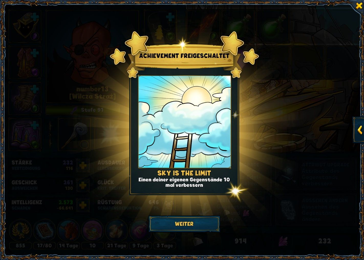 "Pop-up for the unlocked achievement ""Sky is the Limit"" in Shakes and Fidget."