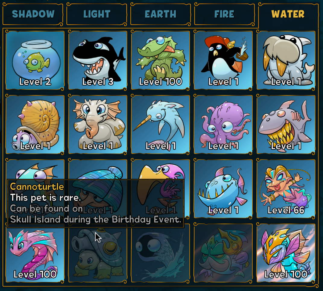 Overview of all water pets in Shakes and Fidget and how to unlock Cannoturtle