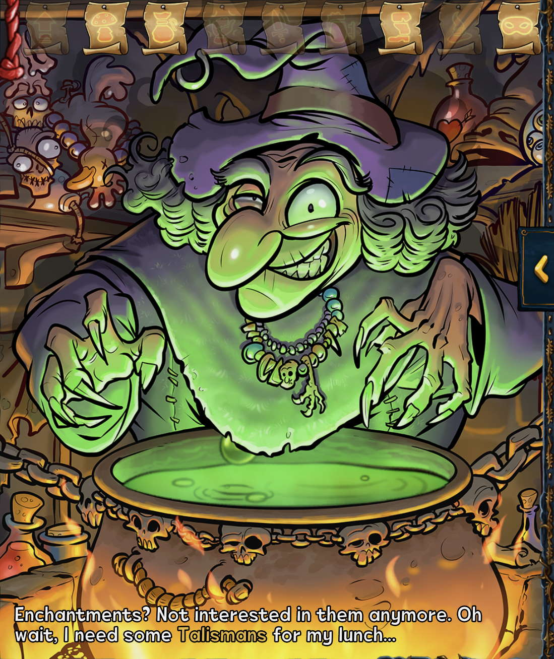 Witch and her cauldron with all unlocked scrolls in Shakes and Fidget