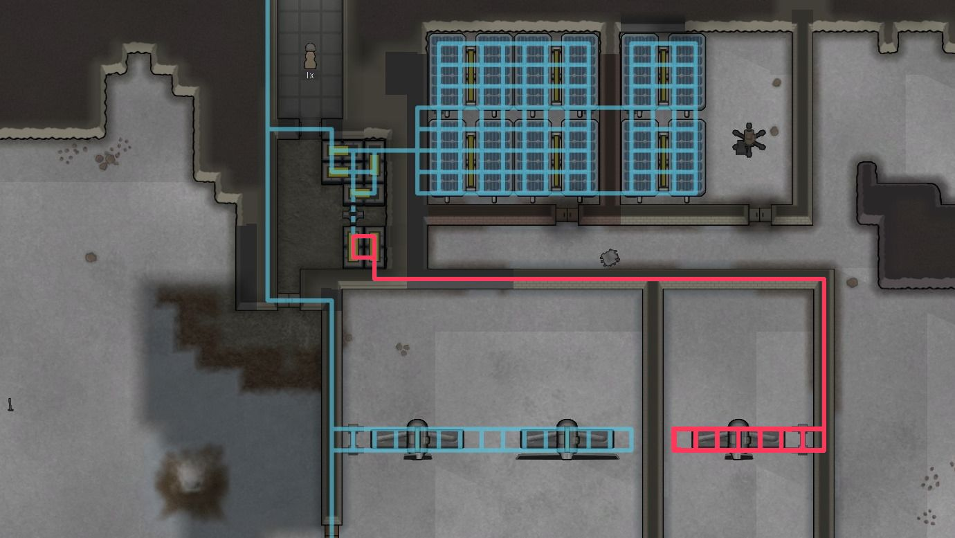 Two electric circuits seperated by a switch in RimWorld.
