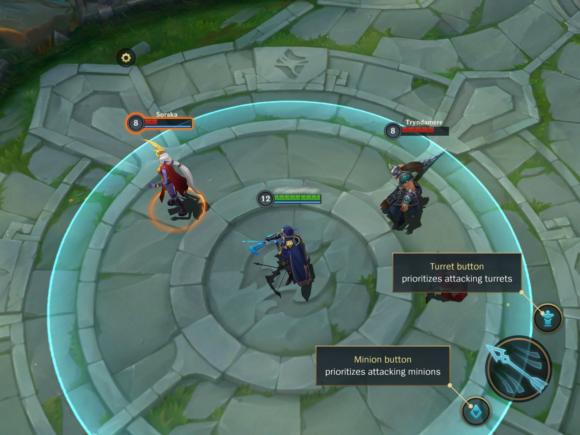 Minion and Turret Button in the tutorial mode in League of Legends Wild Rift