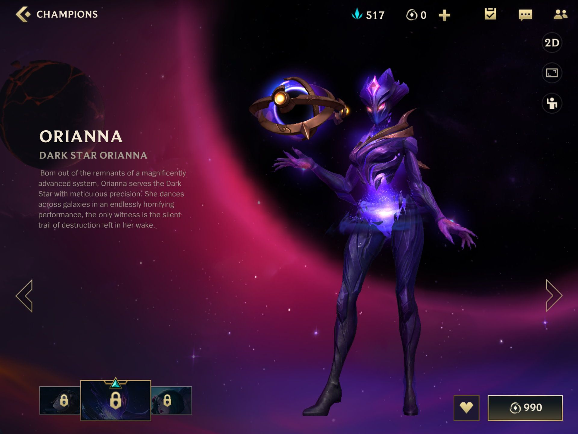 Dark Star Orianna in League of Legends Wild Rift