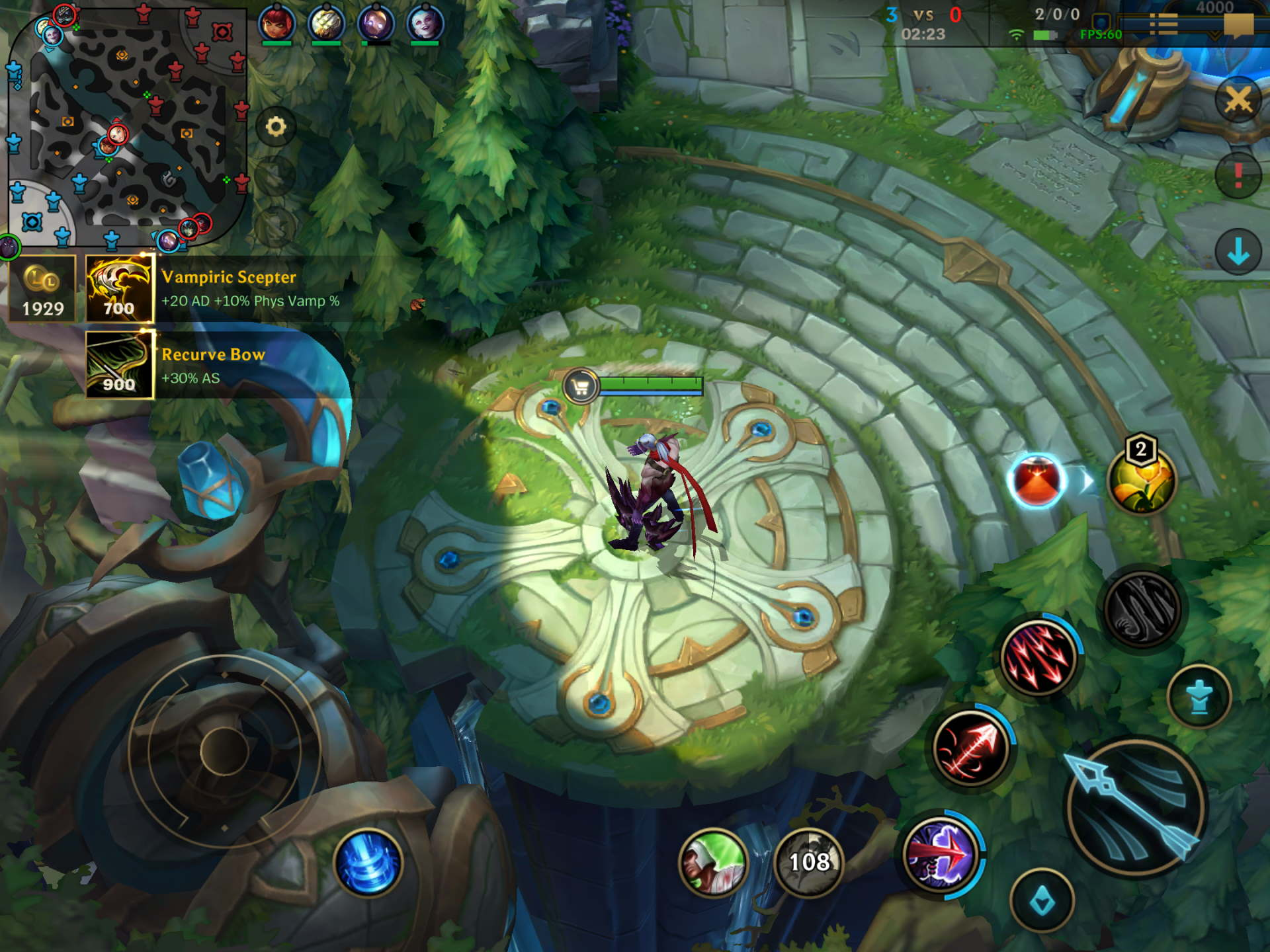 Spawning platform and shop in League of Legends Wild Rift