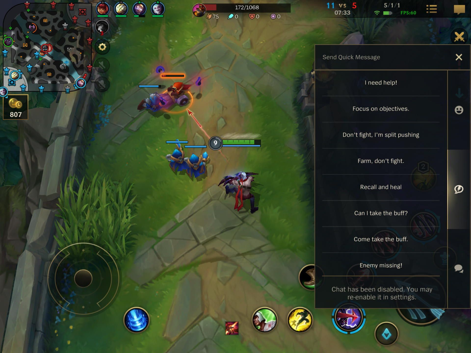 Quick Messages in League of Legends Wild Rift