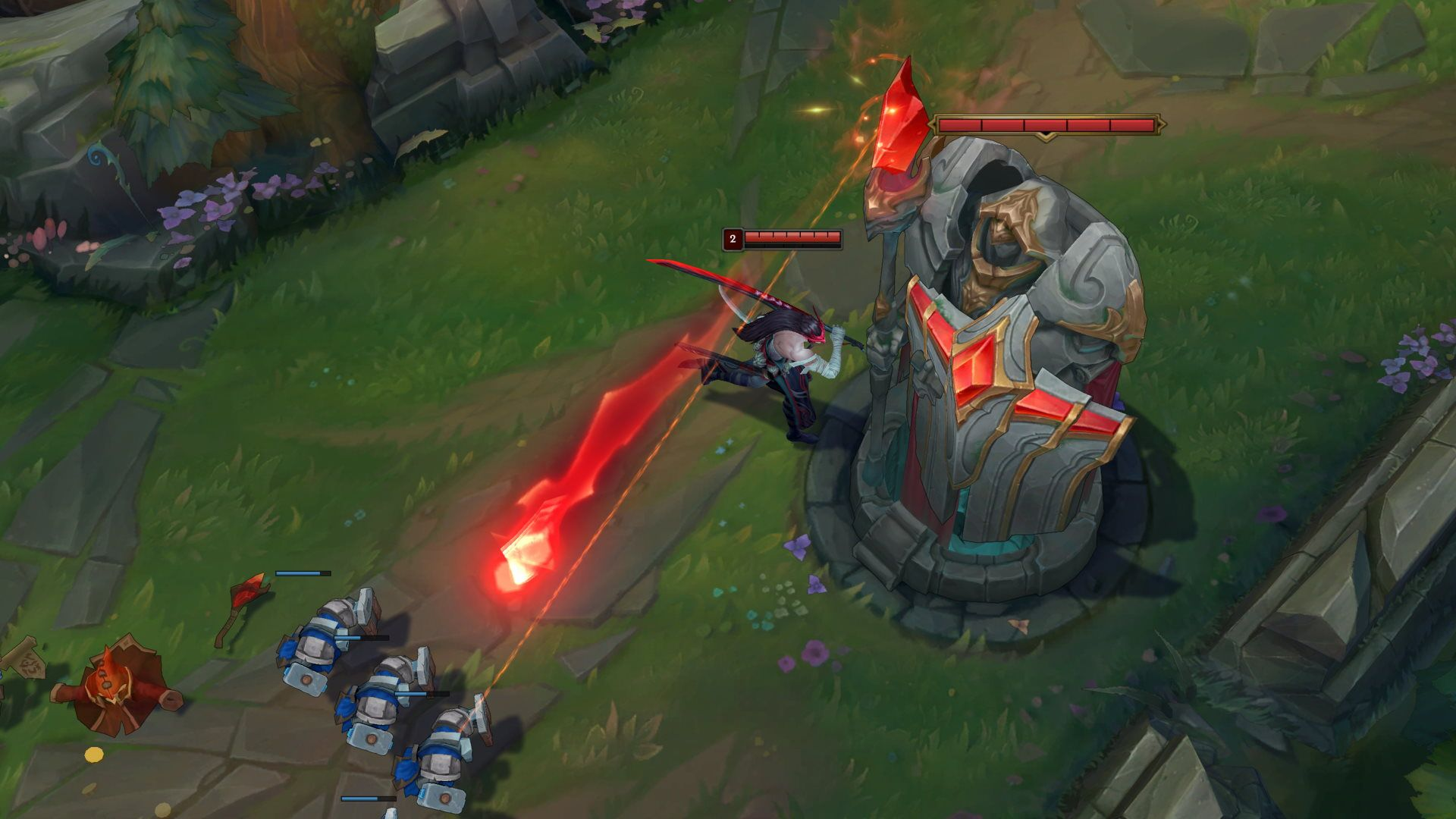 Outer turret of the midlane in League of Legends with active turret armor shoots minions.
