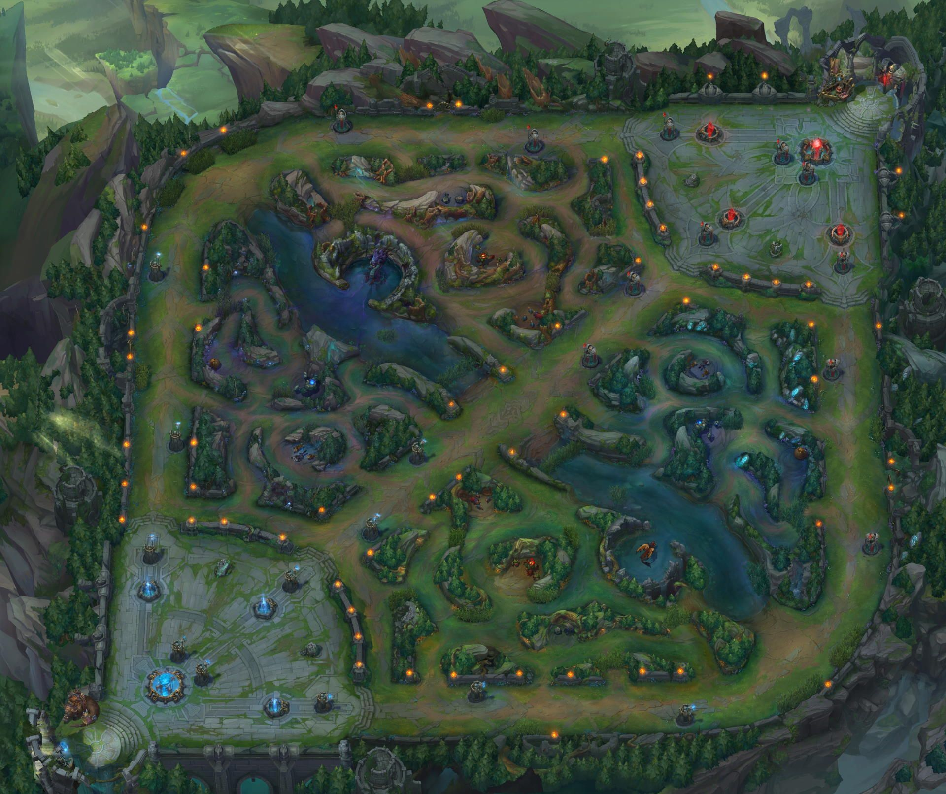 Bird's view of the Summoner's Rift in League of Legends