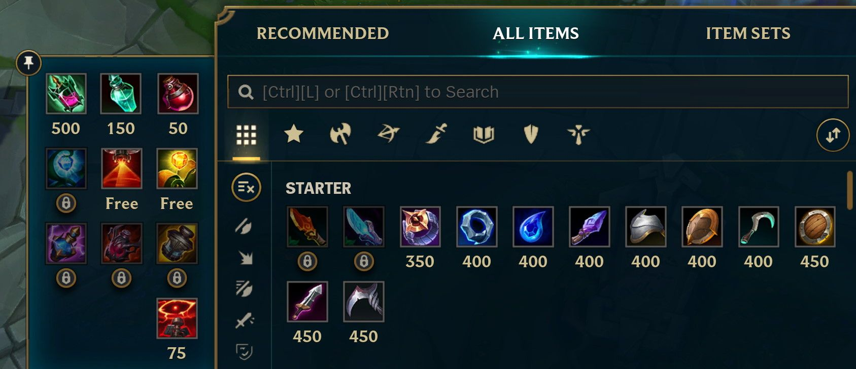 Starter items in the League of Legends shop including potions.