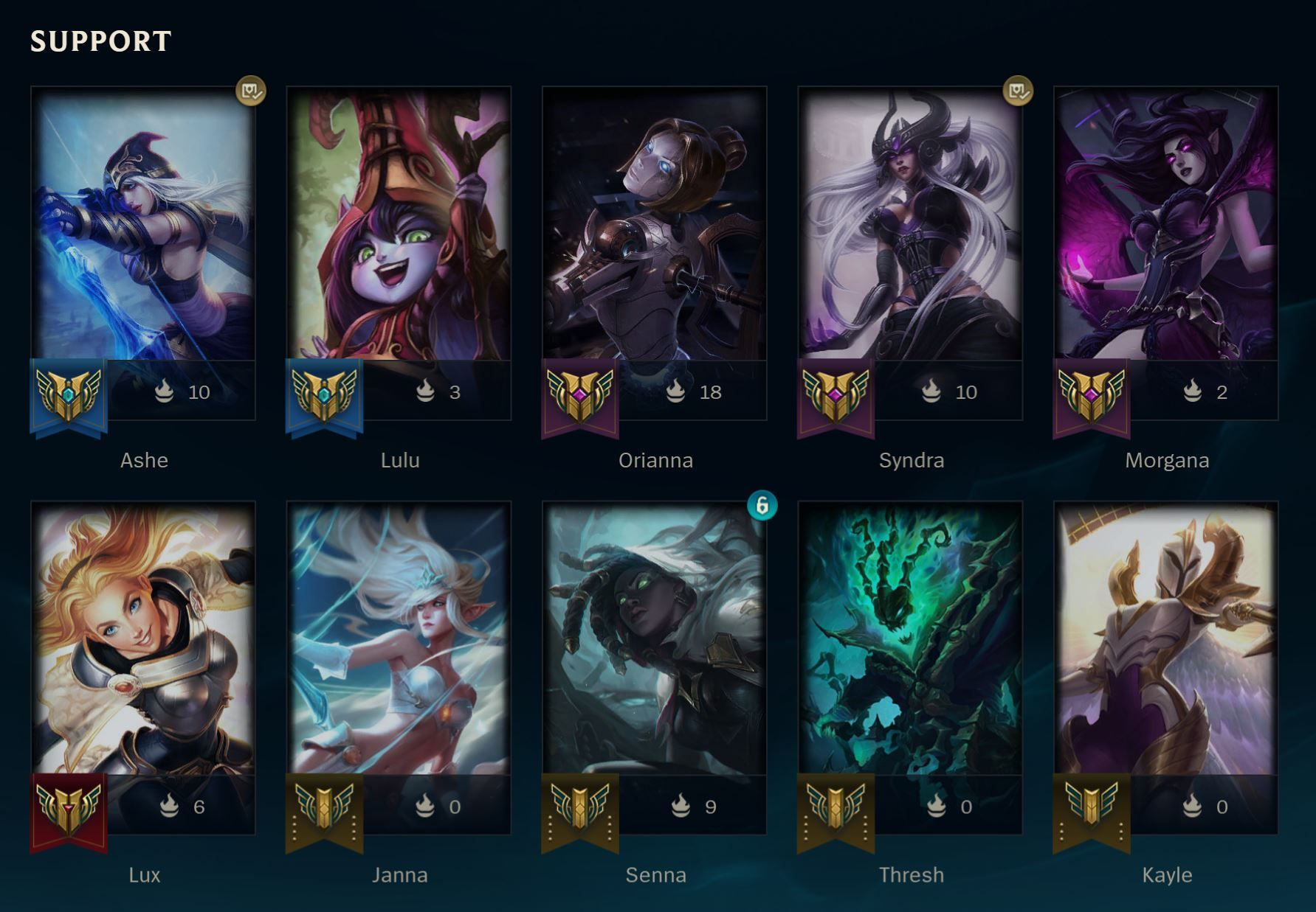 Support Champions in League of Legends.